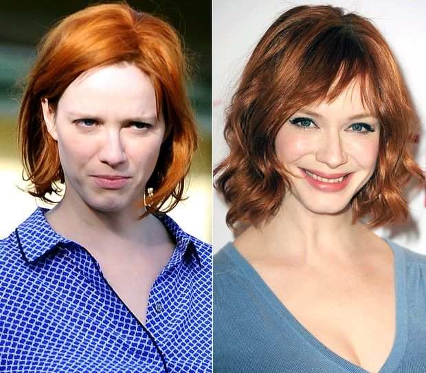 Christina Hendricks without makeup in public