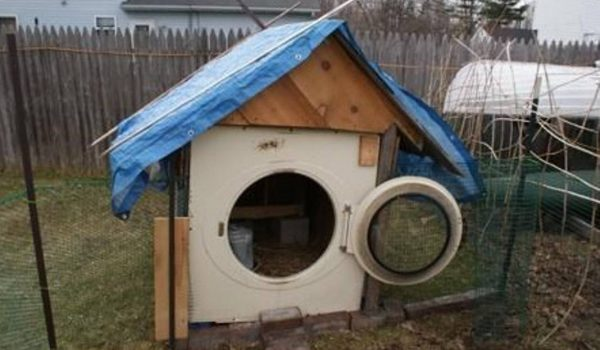 dog house made from washing machine