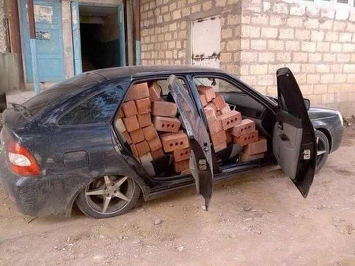 car in russia filled with bricks
