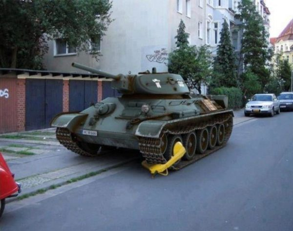 tank with a boot because of wrong parking in russia