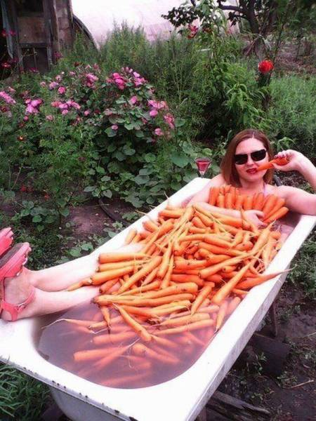 woman taking bath in carrots