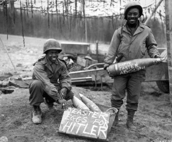 US soldiers decorating bombs for easter