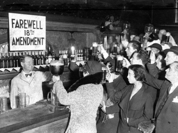 alcohol ban removed in 1933